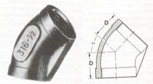 45° Elbows - Screwed Fittings