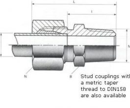 Male Stud Couplings - BSPT Thread