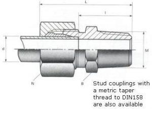 Male Stud Couplings - BSPT Thread